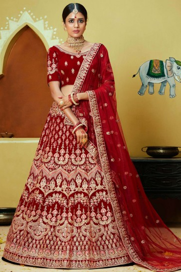 Thread And Zari Work Red Velvet Fabric Lehenga With Embroidery Work Blouse