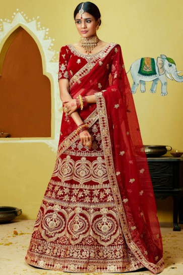 Coding Work And Red Zari Velvet Fabric Lehenga With Thread And Embroidery Work Blouse