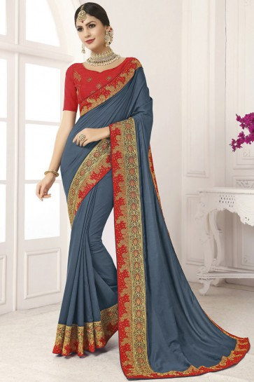 Appealing Grey Lace Work And Border Work Silk Saree And Blouse