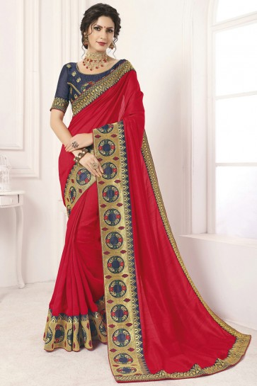 Dazzling Red Border Work And Lace Work Silk Saree And Blouse