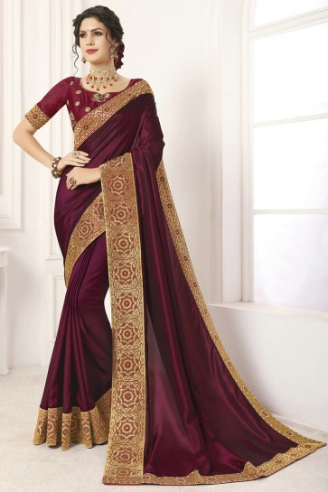 Graceful Silk Lace Work And Border Work Maroon Saree And Blouse