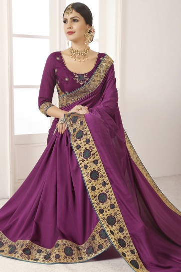 Splendid Violet Silk Lace Work And Border Work Saree And Blouse