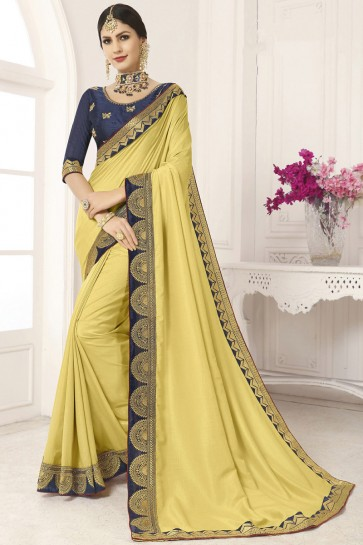 Pretty Yellow Border Work And Lace Work Silk Saree And Blouse