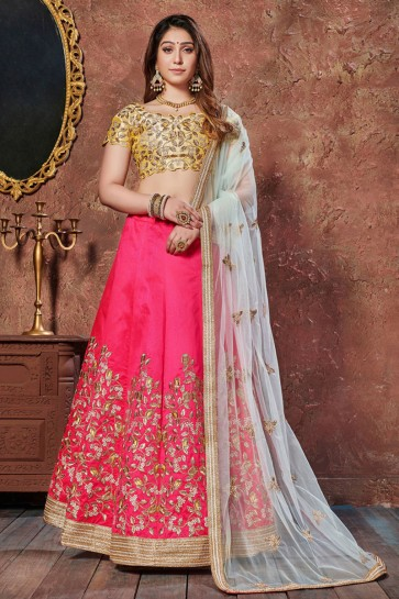 Baby Pink Silk Embroidered And Thread Work Designer Lehenga Choli With Net Dupatta