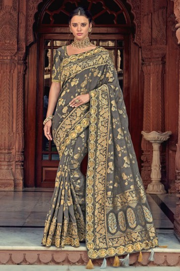 Grey Thread Work Designer Silk Saree With Border Work Blouse