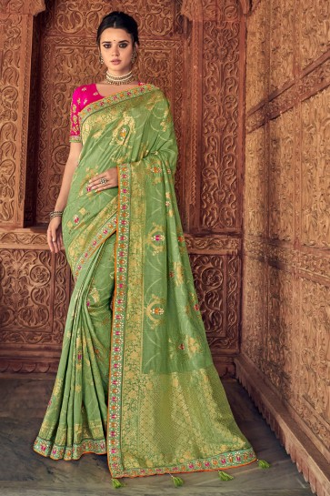 Delicate Parrot Green Thread Work Designer Silk Saree And Blouse