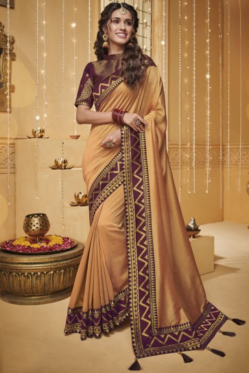 Stylish Orange Border Work And Embroidered Silk Saree With Border Work Blouse