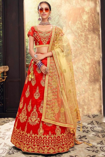 Graceful Zari Work And Embroidred Banglori Red Lehenga With Net Dupatta