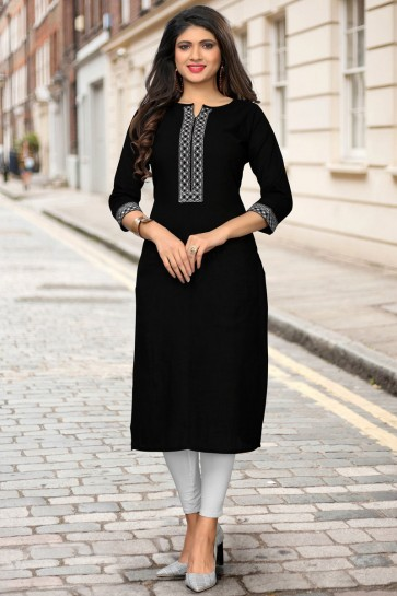 Delicate Black Cotton Printed And Embroidered Kurti