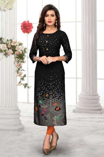 Superb Printed Black Rayon Office Wear Kurti