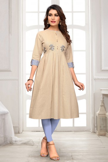 Classy Cream Cotton Solid And Embroidered Kurti
