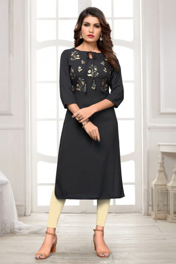 Solid Embroidered Black Rayon Office Wear Kurti