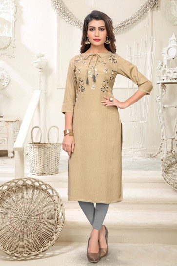 Admirable Beige Rayon Embroidered Kurti