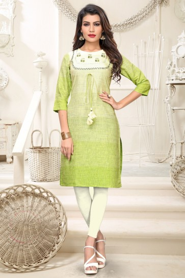 Delicate Parrot Green And White Embroidered Cotton Kurti