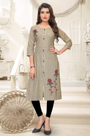 Charming Yellow And Grey Cotton Embroidered Kurti