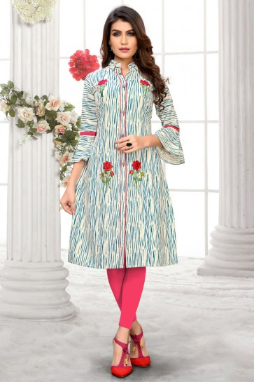 Lovely Multi Color Cotton Embroidered Kurti