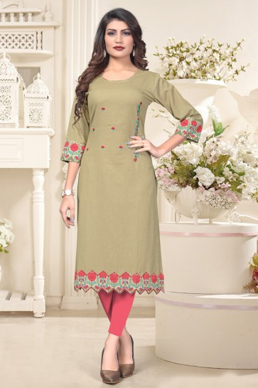 Excellent Khaki Cotton Solid And Embroidered Kurti