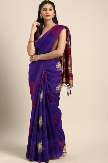 Supreme Purple Weaving Work And Jacquard Work Art Silk Saree With Weaving Work Blouse