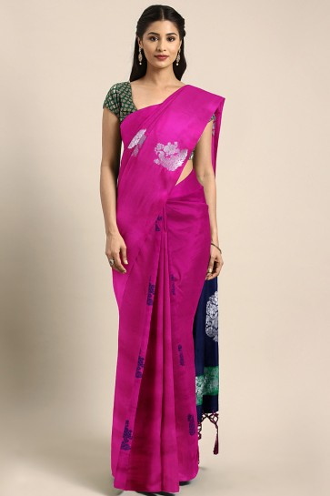 Weaving Work And Jacquard Work Magenta Art Silk Solid Saree And Blouse
