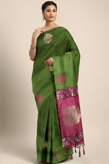 Party Wear Mehendi Green Weaving Work And Jacquard Work Art Silk Saree And Blouse