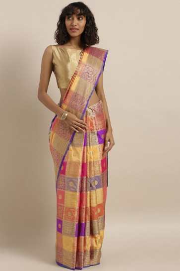 Weaving Work And Jacquard Work Designer Art Silk Fabric Multi Color Saree And Blouse