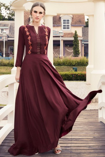 Excellent Maroon Rayon Embroidered Kurti