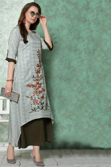 Stunning Grey Embroidered Rayon Kurti