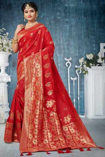 Stylish Red Jacquard Work And Weaving Work Banarasi Silk Saree And Blouse