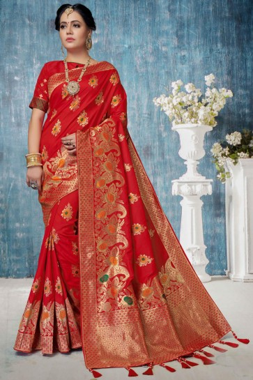 Classy Red Weaving Work And Jacquard Work Banarasi Silk Saree And Blouse