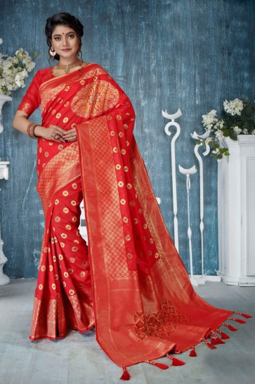 Party Wear Red Weaving Work And Jacquard Work Banarasi Silk Saree And Blouse