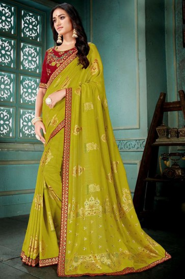Embroidred And Printed Light Green Silk Saree With Embroidred Blouse