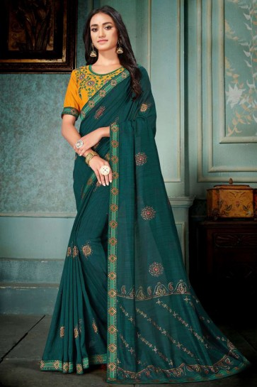 Teal Embroidred And Printed Designer Silk Saree With Embroidred Blouse