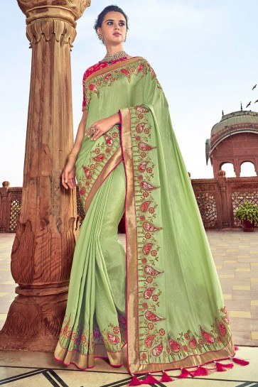 Pista Embroidred And Weaving Work Satin And Silk Saree With Embroidred Blouse