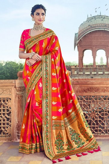 Splendid Multi Color Zari Work And Weaving Work Satin And Silk Saree With Embroidred Blouse