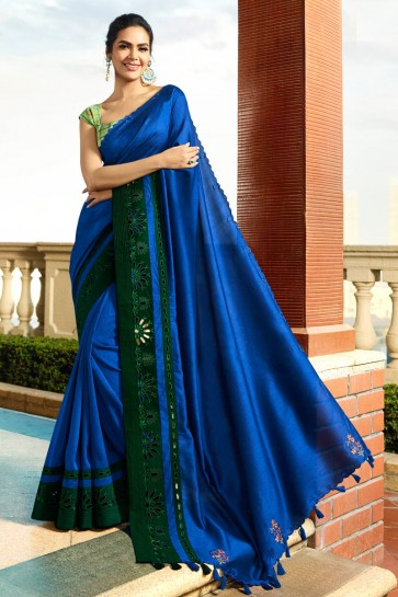 Superb Royal Blue Embroidred Designer Chanderi Saree And Blouse