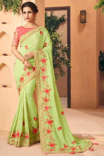 Pretty Embroidred And Stone Work Light Green Art Silk Saree And Blouse