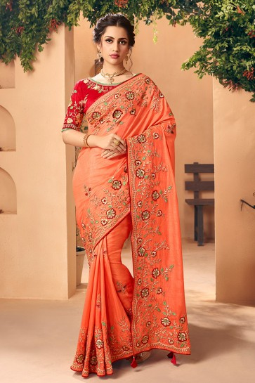 Stylish Peach Embroidred And Stone Work Art Silk Saree And Blouse