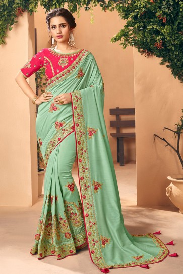 Classy Pista Embroidred And Stone Work Art Silk Saree And Blouse