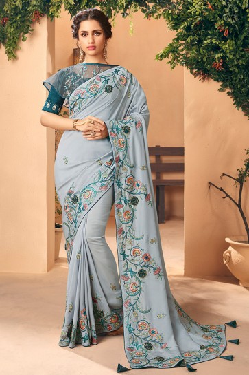 Grey Embroidred And Stone Work Art Silk Saree And Blouse