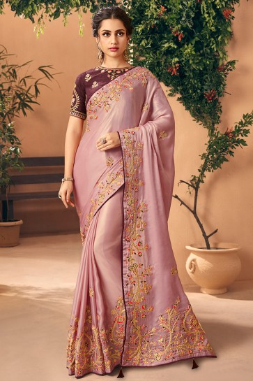 Party Wear Wine Embroidred And Stone Work Art Silk Saree And Blouse