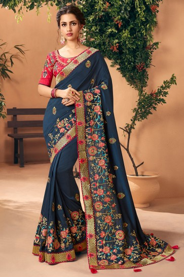 Splendid Navy Blue Embroidred And Stone Work Art Silk Saree And Blouse