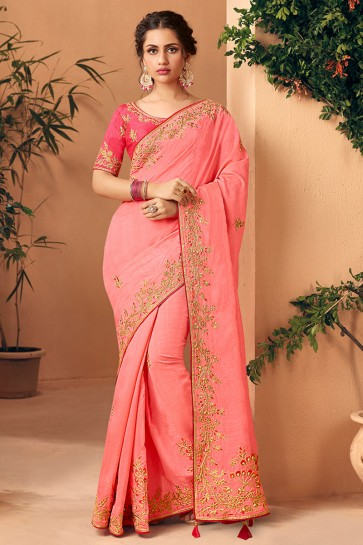 Pink Embroidred And Stone Work Designer Art Silk Saree And Blouse