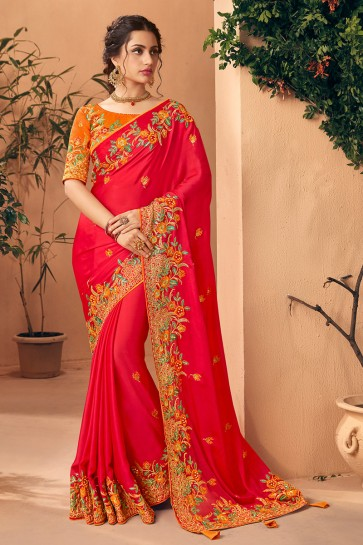 Embroidred And Stone Work Red Art Silk Designer Saree And Blouse