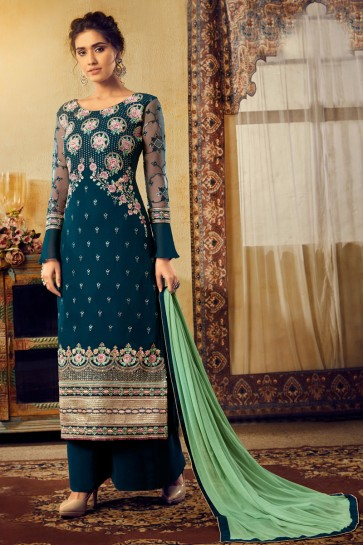 Navy Blue Georgette And Viscose Fabric Embroidered Plazzo Suit With Chiffon Dupatta