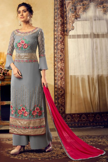 Charming Grey Embroidered Designer Viscose And Georgette Plazzo Suit With Chiffon Dupatta