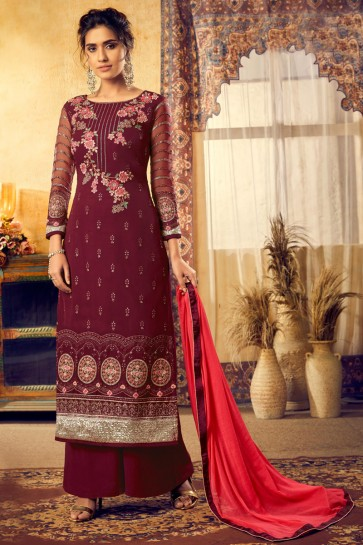 Embroidered Maroon Georgette Fabric Stylish Plazzo Suit With Chiffon Dupatta