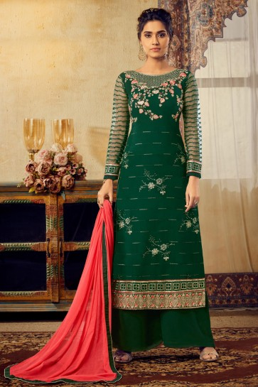 Viscose And Georgette Fabric Green Embroidered Plazzo Suit With Chiffon Dupatta