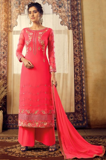 Georgette And Viscose Fabric Pink Embroidery Work Plazzo Suit With Chiffon Dupatta