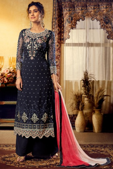 Party Wear Embroidery Work Navy Blue Viscose Stylish Plazzo Suit With Chiffon Dupatta
