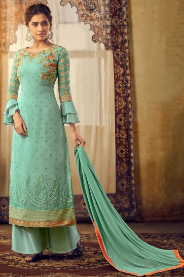 Elegant Georgette And Viscose Fabric Sea Green Embroidered Plazzo Suit And Santoon Bottom